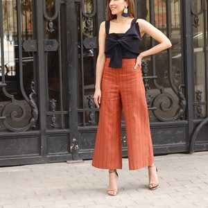 Uterque XS 24 Striped Paper Bag Wide Cropped Pants